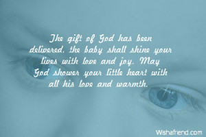 The gift of God has been delivered, the baby shall shine your lives ...