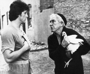 Chicken scene: Mickey played by Burgess Meredith made Rocky chase ...