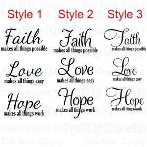 Faith Love Hope Quote Vinyl