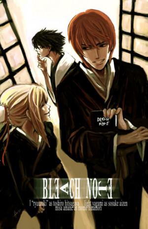 ... Light con uniformes de los shinigamis de Bleach y la death note