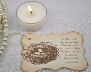 Candle Favor Tags Baby Shower Bird Nest Eggs Once the Stork has made ...
