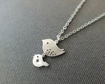 Mother and Daughter Necklace - Also Available in Gold, Mama Bird Baby ...