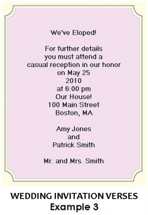 ... specific invitation to a wedding reception celebrating the marriage