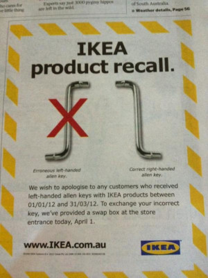 ... issued a product recall on left-handed allen keys (via @SportyMuslimah