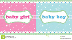 Baby girl and baby boy arrival announcement card.
