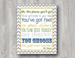 Oh The Places You'll Go - Dr. Seuss Printable Subway Art - Custom ...