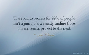 The Road To Success For 99% Of People Isn't A Jump It's Steady