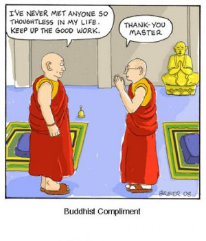 Cartoon: Buddhist Compliment (medium) by noodles tagged buddhism