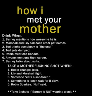 TV Drinking Games -How I Met Your Mother Drinking Game