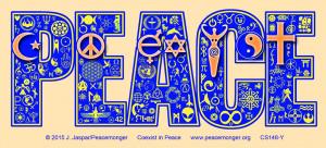 CM048 - Coexist in Peace Interfaith Symbol Mosaic Color Mini Sticker