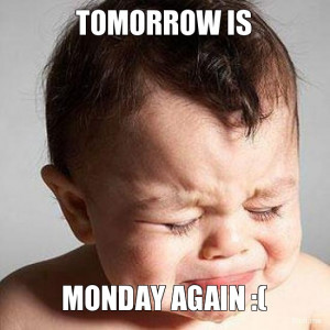 TOMORROW IS, MONDAY AGAIN :(