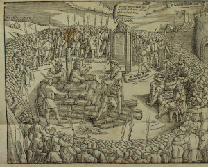 Latimer et Ridley, martyrs protestants, brûlés vifs