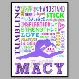 The Word I Love Gymnastics Girls tumbling word art purple