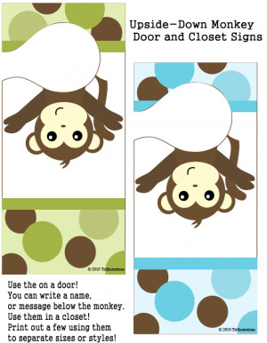 11. Monkey Door Hangers ~ You can hang them in your closet to divide ...