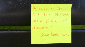 One of the sticky notes quotes John Barrymore.