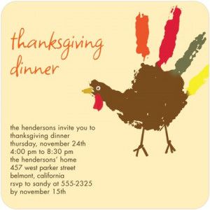 ... Thanksgiving party invitation , complete with a nostalgic finger
