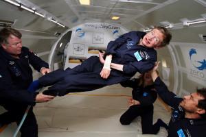 Stephen Hawking floats on a zero-gravity jet, April 26, 2007. Zero ...