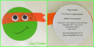 Cute & Easy Teenage Mutant Ninja Turtles Birthday Party Invite