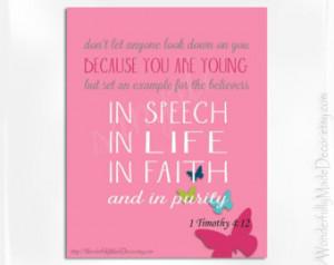 ... . Bible Verse Art . Scripture Print . Teen Room Art . Teen Decor