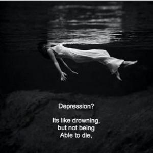نتیجه تصویری برای depression is like drowning not being