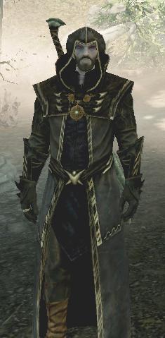 Erandur as a follower, wearing Hooded Thalmor Robes .