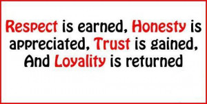 Respect is earned, Honesty is appreciated, Love is gained and Loyalty ...