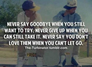 Never say goodbye when you still want to trynever give up when you can ...