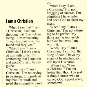 To be a Christian...
