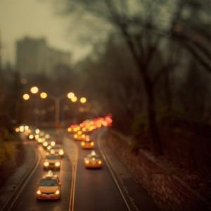 city, lights, new york, street, taxi