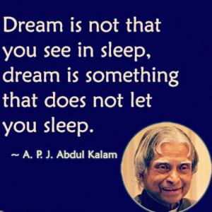 Abdul Kalam Quote on Dream and Sleep