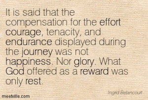 ... courage and endurance displayed during the journey was not happiness
