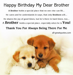 Happy Birthday My Dear Brother – A Brother holds a special place