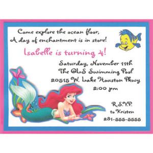 Little Mermaid Birthday Invitation-Little Mermaid, Ariel