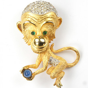 Hattie Carnegie Gold and Pave Monkey Carrying a Cabochon Coconut Pin