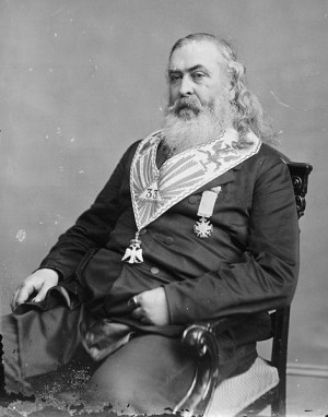 Albert Pike posing in Masonic regalia.)