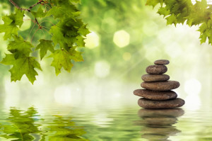 ... rappresenta una gigantografia zen con sassi ambientati in natura