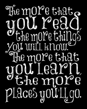 For kids' reading nook/playroom Dr Suess Nursery quote art - 8 x 10 ...