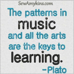 ... music Plato saying quote arts appreciation machine embroidery design