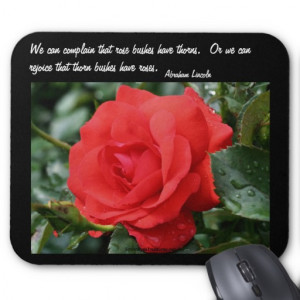 Red Rose Inspirational Attitude Quote Mousepad