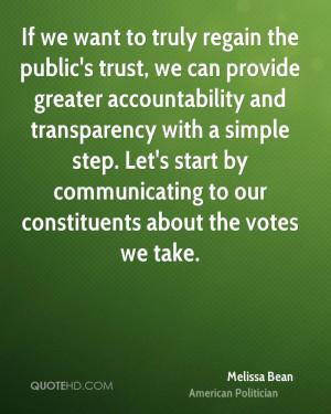 Melissa Bean Trust Quotes