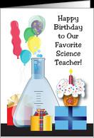 Birthday to Science Teacher, beaker, balloons, cupcake card - Product ...