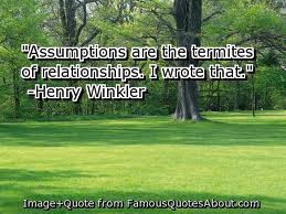 What are your thoughts about assumptions?