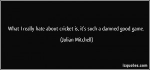 What I really hate about cricket is, it's such a damned good game ...