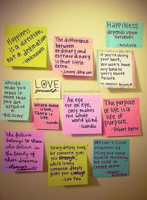 ... for inspiration. Sticky notes + uplifting quotes = cube happiness