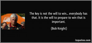 will to win... everybody has that. It is the will to prepare to win ...