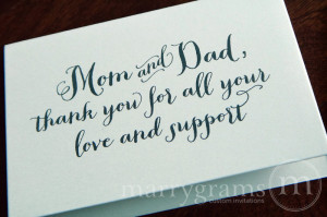 ... thank you for all your love and support wedding day card thick style