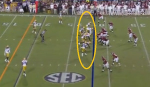 ... while Alabama has six guys to block the possible seven pass-rushers
