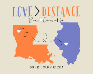 Unique Gift for Long Distance Relationships - 8x10 Custom Maps, Gift ...