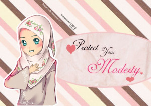 Hijab Poster With Cute Muslimah Drawing