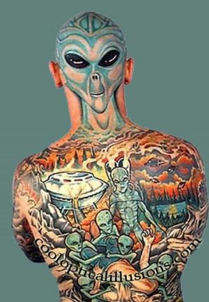 full back and head tattoo - Cool Alien